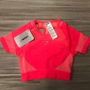 NWT Gymshark Ultra Seamless Crop Top Cup Out Back